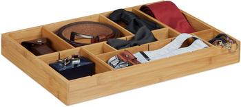 Relaxdays Bambus Schubladeneinsatz mit herausnehmbaren Trennwänden H 5 x B 45 x T 32 cm natur