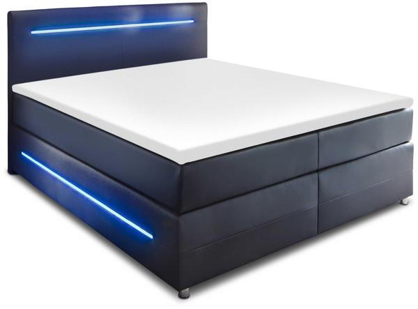 Meise Möbel Boxspringbett mit Beleuchtung 180x200cm schwarz