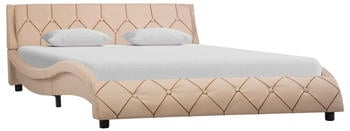 vidaXL Bed in Faux Leather Capuccino 160 x 200 cm