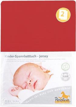 Pinolino Spannbetttuch für Kinderbetten Jersey - uni rot Doppelpack