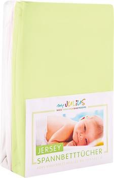 Julius Zöllner Spannbetttuch Jersey 70x140cm 2er Pack - grün weiß