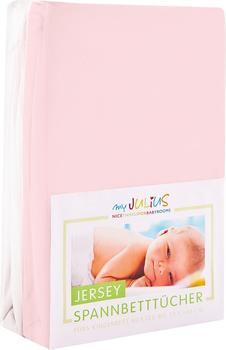 Julius Zöllner Spannbetttuch Jersey 70x140cm 2er Pack - rosa weiß