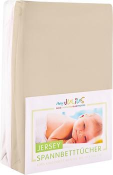 Julius Zöllner Spannbetttuch Jersey 70x140cm 2er Pack - sand weiß