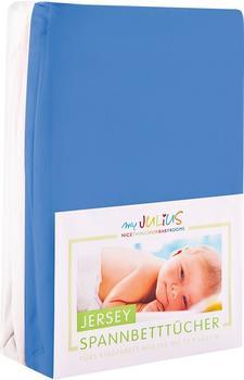 Julius Zöllner Spannbetttuch Jersey 70x140cm 2er Pack - blau weiß