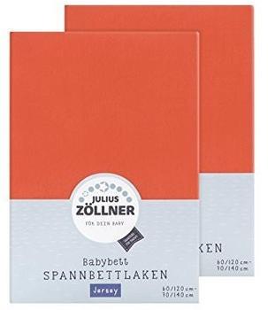 Julius Zöllner Spannbetttuch Jersey 70x140cm 2er Pack - Koralle