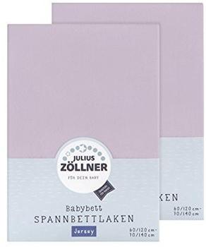 Julius Zöllner Spannbetttuch Jersey 70x140cm 2er Pack - flieder