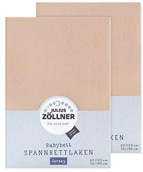 Julius Zöllner Spannbetttuch Jersey 70x140cm 2er Pack - sand