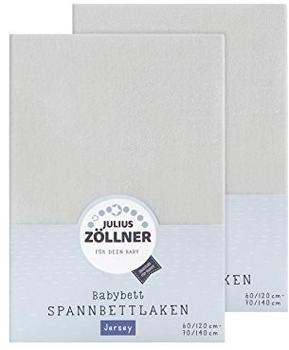Julius Zöllner Spannbetttuch Jersey 70x140cm 2er Pack - hellgrau