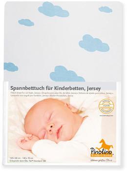 Pinolino Spannbetttuch für Kinderbetten Jersey Doppelpack - Wölkchen hellblau