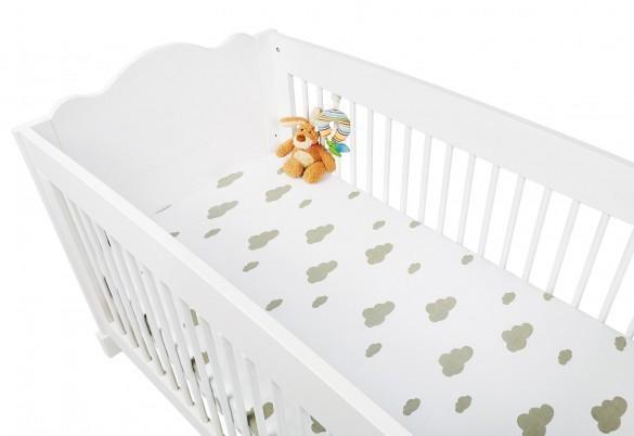 Pinolino Spannbetttuch für Kinderbetten Jersey Doppelpack - Wölkchen grau