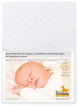 Pinolino Spannbetttuch für Wiegen Jersey Doppelpack - Sternchen hellblau