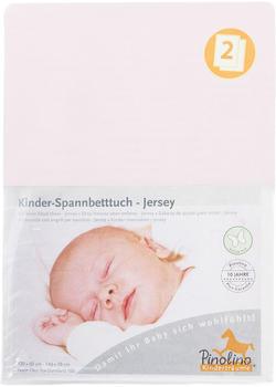 Pinolino Spannbetttuch für Kinderbetten Jersey - uni rosa Doppelpack