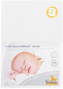 Pinolino Spannbetttuch für Kinderbetten Jersey - uni weiß Doppelpack