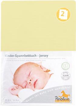 Pinolino Spannbetttuch für Kinderbetten Jersey - uni gelb Doppelpack