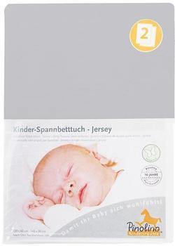 Pinolino Spannbetttuch für Kinderbetten Jersey - uni grau Doppelpack