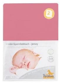 Pinolino Spannbetttuch für Kinderbetten Jersey - uni altrosa Doppelpack