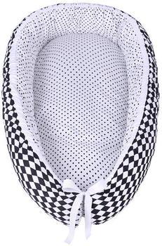 Lulando Multifunktionales Babynest 80x45cm - Karo schwarz, weiße Punkte