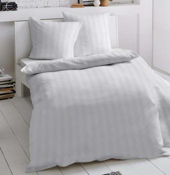Dormisette Damast Bettwäsche - Größe: 155/220 cm - 80/80 cm; Weiß 772947