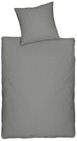Dormisette Q345 Jersey Bettwäsche in Melange-Optik, Größe 2 x 80/80 und 200/200 cm, grau