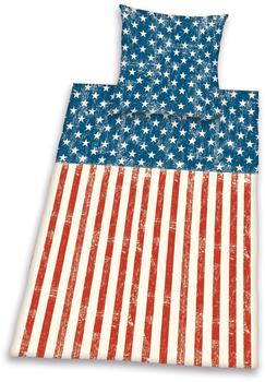 Herding Young Collection Stars & Stripes 80x80+135x200cm rot/blau