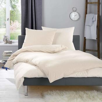 Lorena Feinflanell Bettwäsche Daphne beige gestreift Bettbezug einzeln 135x200 cm