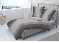 Dormisette 2 tlg. Melange Flanell Bettwäsche 135x200cm Streifen Grau