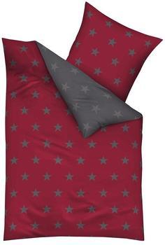 KAEPPEL Mako Satin Bettwäsche Essential Stars Größe 155x220+80x80 cm Farbe Rubin