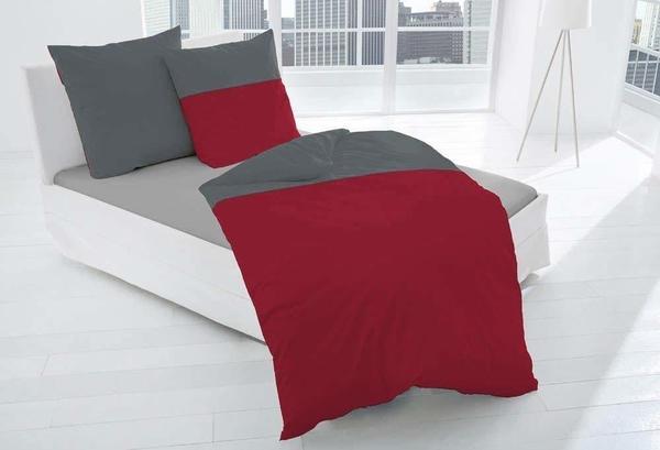 Dormisette Bettwäsche mit Paspel anthrazit/rot (135x200+80x80cm)