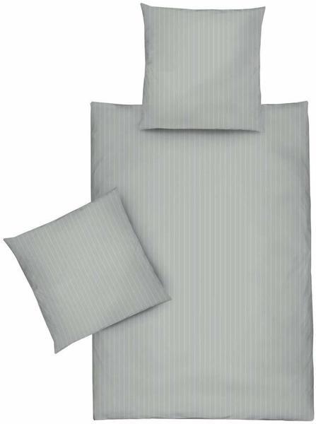 Dormisette Bettwäsche Uni Streifen grau (135x200+80x80cm)