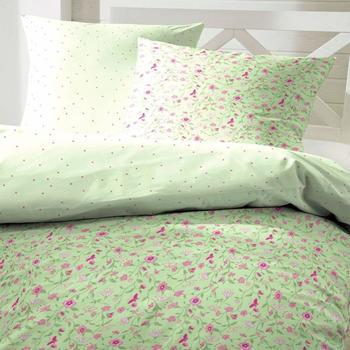 H. G. Hahn Hahn Renforcé-Wendebettwäsche Blumen grün 135x200 cm