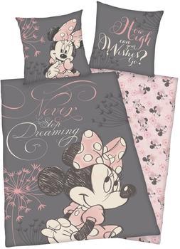 "Herding Minnie Mouse Kinderbettwäsche GrauPink ""Never Stop Dreaming"""