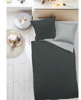 Dormisette Mako-Satin Bettwäsche 5576 anthrazit/silber (135x200+80x80cm)