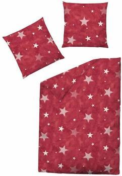 Dormisette Biber Bettwäsche 2 teilig Bettbezug 135 x 200 cm Kopfkissenbezug 80 x 80 cm Sterne ...