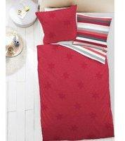 Dormisette Fein Biber Wende Bettwäsche Sterne Streifen Rot WeißGrau Weiß, Farbe:Rot, Größe:155x220cm
