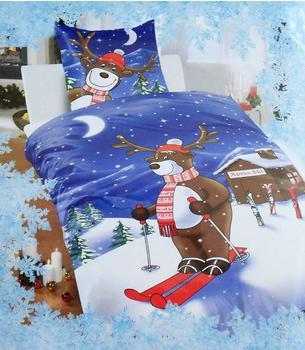 Bertels Textil Elch auf Skiern (80 x 80 + 135 x 200 cm)