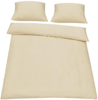 neu.haus [neu.haus] Bettwäsche 200x200cm Beige + Kissenbezug Kopfkissen Bettbezug