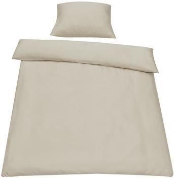 neu.haus [neu.haus] Bettwäsche 155x220cm Sand + Kissenbezug Kopfkissen Bettbezug