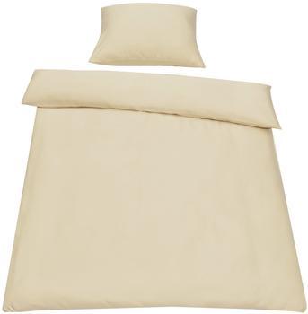 neu.haus [neu.haus] Bettwäsche 155x220cm Beige + Kissenbezug Kopfkissen Bettbezug