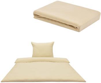 [neu haus] [neu.haus] Spannbettlaken 90-100 x 200 cm + Bettwäsche 135x200 Beige/Creme