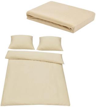 neu.haus [neu.haus] Spannbettlaken 180-200 x 200 cm + Bettwäsche 200x200 Beige/Creme