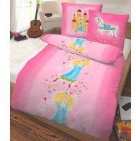 Dobnig Biber Bettwäsche Prinzessin pink 135 x 200 cm80 x 80 cm Flanell