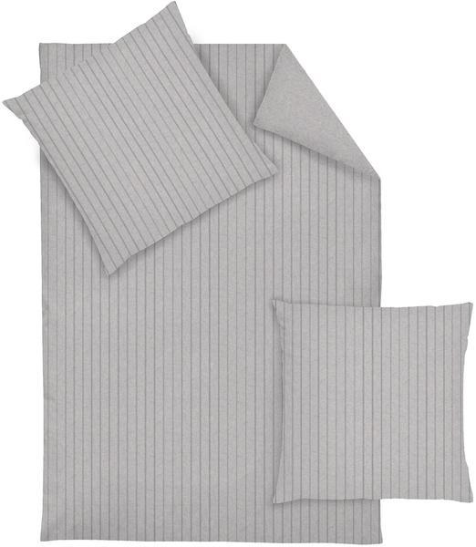 DORMISETTE Uni Flanell Bettwäsche Streifen grau