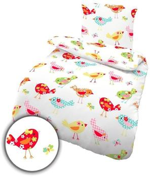 Ido 17737-1 Fein Biber Bettwäsche 2tlg. Weiß Pink Bettbezug 135x200 cm