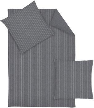 Dormisette Bettwäsche Streifen anthrazit (155x220+80x80cm)