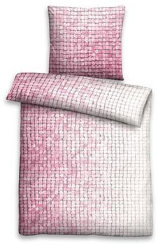 Biberna Biberna Linon Bettwäsche Mosaik 80x80+135x200cm rot ( 44754-140)