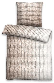 Biberna Biberna Linon Bettwäsche Mosaik 80x80+135x200cm beige (44754-542)