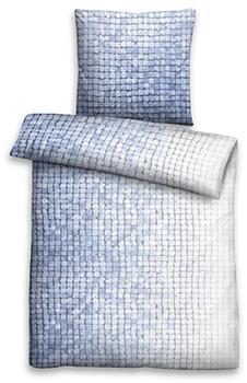Biberna Biberna Linon Bettwäsche Mosaik 80x80+155x220cm blau (44754-256 )