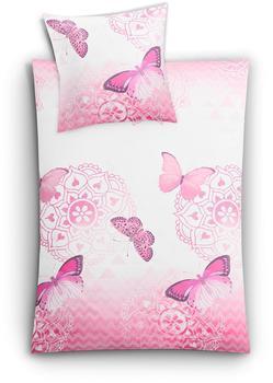 KLEINE WOLKE Bettwäsche Schmetterlinge cassis (155x220+80x80cm)