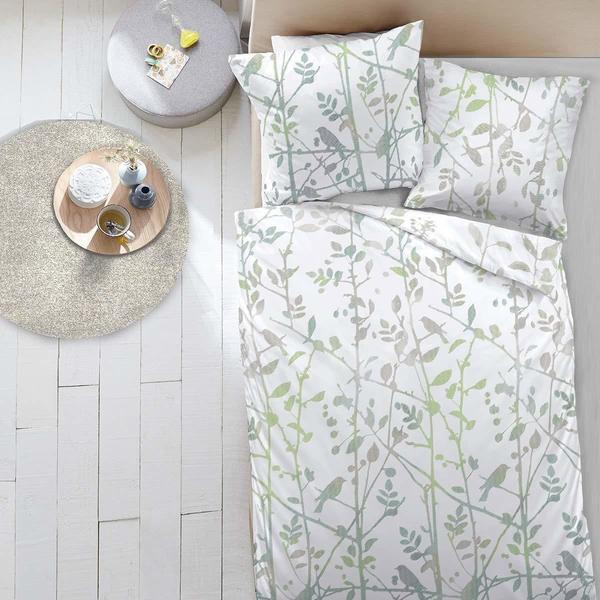 Dormisette Mako-Satin Bettwäsche Birds green Dormisette green