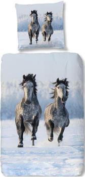 Good Morning Snowhorses 80x80+135x200cm